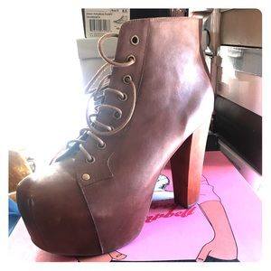 Jeffrey Campbell platform boots in brown leather